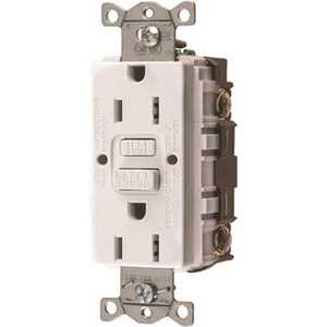HUBBELL WIRING GFRST15W 15 Amp 125-Volt NEMA 5-15R Hubbell Autoguard Commercial Standard GFCI Receptacle, White