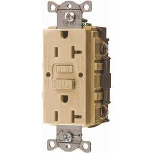 HUBBELL WIRING GFRST20I 20 Amp 125-Volt NEMA 5-20R Hubbell Autoguard Commercial Standard GFCI Receptacle, Ivory