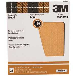 3M 88595 Pro-Pak 9 in. x 11 in. 150A Grit Garnet Sandpaper (25 Sheets-Pack) Pack of 100