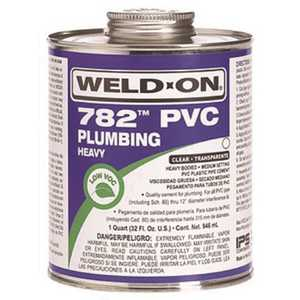 IPS Corporation 14016 Weld On 782 Heavy-Bodied PVC Cement, Clear, Quart