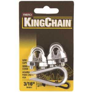 KingChain 701811 3/16 in. Zinc-Plated Wire Rope Clip and Thimble Set