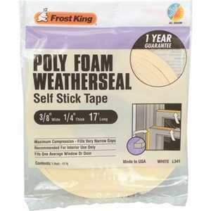 Frost King L341H 3/8 in. x 1/4 in. x 17 ft. White Poly Foam Window Weatherstrip