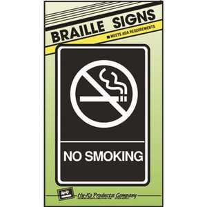 HY-KO PRODUCTS DB-7 6 in. x 9 in. Braille ADA Approved Plastic No Smoking Sign