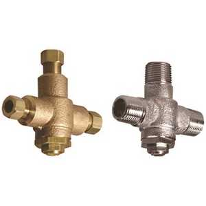 POWERS PROCESS CONTROLS LFE480-10 Powers Under Counter Thermostatic Mixing Valve, 3/8 in. Compression, Rough Bronze, Lead Free