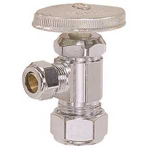 BrassCraft OCR1BX C Angle Stop Valve 3/8 in. Nom (1/2 in. OD) Compression x 3/8 in. OD Compression Chrome Lead Free