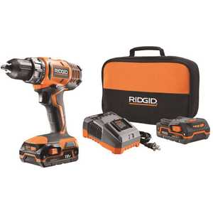 RIDGID R860052K 18-Volt Lithium-Ion Cordless 2-Speed 1/2 in. Compact Drill/Driver Kit with (2) 1.5 Ah Batteries, Charger, and Tool Bag Orange