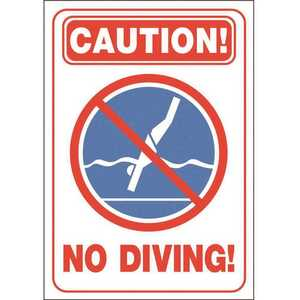 HY-KO PRODUCTS 20423 20 in. x 14 in. Pool Signs Pool Accessories and Hardware Caution No Diving