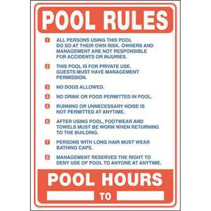 20 in. x 20 in. Pool Rules