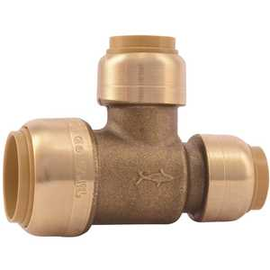 SharkBite U454LF 3/4 in. x 1/2 in. x 1/2 in. Brass Push-to-Connect Reducer Tee