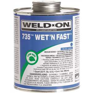 IPS Corporation 12498 PVC Weld On Cement Wet N Fast Blue 1/4 Pint