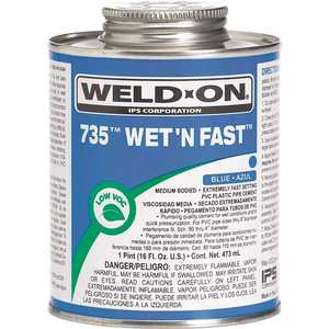 Weld-On 12496 16 oz. PVC 735 Wet N Fast Cement in Blue