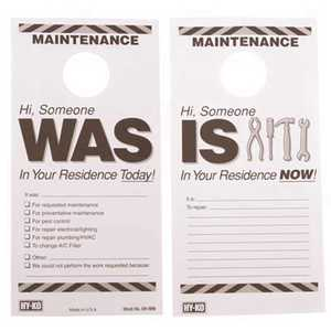 HY-KO PRODUCTS DH-MW 7 in. x 3-1/2 in. Paper Reversible Maintenance Door Hang Tag Black Pack of 50