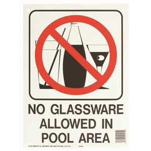 HY-KO PRODUCTS 20425 Water Safety No Glassware Allowed in Pool Sign
