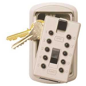 Mounted 2-Key Box with Pushbutton Combination Lock, Clay