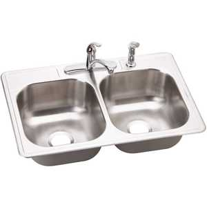 Elkay DSE233224 Dayton Drop-In Stainless Steel 33 in. 4-Hole 50/50 Double Bowl Kitchen Sink