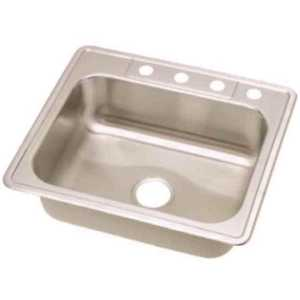 Elkay DSE125224 Dayton Drop-In Stainless Steel 25 in. 4-Hole Single Bowl Kitchen Sink with 8 in. Bowl