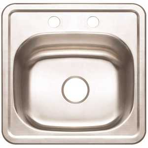 Premier 3562902 15 in. Top Mount Stainless Steel Bar Sink 2-Hole with Brush Finish