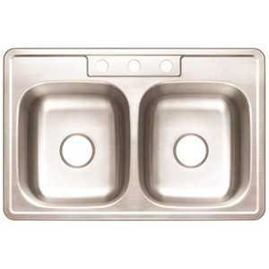 Premier 3562898 Drop-In Stainless Steel Kitchen Sink 33 in. 3-Hole Double Bowl Kitchen Sink with Brush Finish