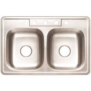 Premier 3562897 Drop-In Stainless Steel Kitchen Sink 33 in. 4-Hole Double Bowl Kitchen Sink with Brush Finish