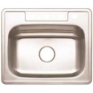 Premier 3562895 Drop-In Stainless Steel Kitchen Sink 25 in. 4-Hole Single Bowl Kitchen Sink with Brush Finish