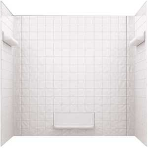 Swan TI-5-010 32 in. x 60 in. x 59.6 in. Square Tile Easy Up Adhesive Alcove Tub Surround in White