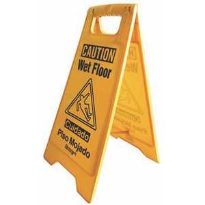 Renown 880547 25 in. English and Spanish Caution Wet Floor Sign in Yellow