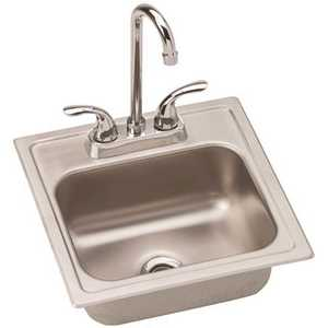 Elkay DSEP1515C Dayton All-in-One Drop-In Stainless Steel 15 in. 2-Hole Single Bowl Bar Sink with Faucet and Drain