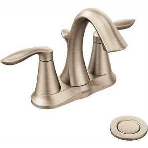 Moen 6410BN Eva 4 in. Centerset 2-Handle High-Arc Bathroom Faucet in Brushed Nickel