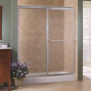 Foremost TDSS4870-OB-SV Tides 44 in. to 48 in. x 70 in. H Framed Sliding Shower Door in Silver and Obscure Glass without Handle