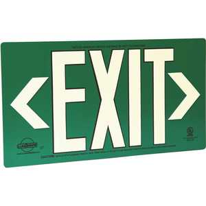 LumAware EG-EXIT-M-GRB Green Metal Aluminum Energy-Free Photoluminescent UL924 Emergency Exit Sign with LED Lighting Compliant