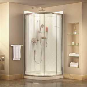 DreamLine DL-6152-01CL Prime 33 in. x 33 in. x 76.75 in. H Corner Semi-Frameless Sliding Shower Enclosure in Chrome with Base and Back Walls