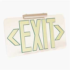 LumAware CLR-GR-FM-FC-T Patented UL Listed Clear Lucite Photoluminescent UL924 Emergency Exit Sign(LED Lighting Compliant) Mounting Kit Included