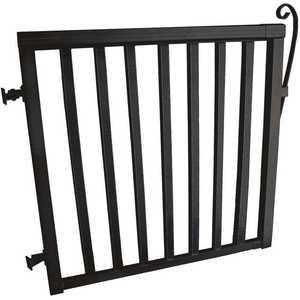 Peak Aluminum Railing 50166 42 in. x 40 in. Black Aluminum Wide Picket Gate