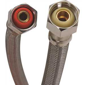 Fluidmaster B3F16 1/2 in. Compression x 1/2 in. F.I.P. x 16 in. L Braided Stainless Steel Faucet Connector