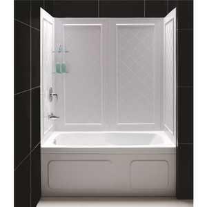 DreamLine SHBW-1360603-01 QWALL-Tub 28-32 in. D x 56 to 60 in. W x 60 in. H Easy Up Adhesive Tub Surround in White