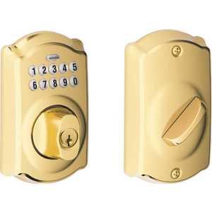 Schlage BE365 CAM 505 605 Camelot Bright Brass Keypad Electronic Door Lock Deadbolt