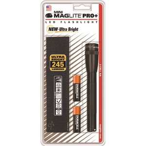 Maglite SP+P01H Mini Maglite Pro Plus LED Flashlight Uses 2 AA Batteries Holster Pack in Black