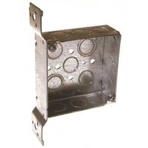 RACO 196 4 in. Square Box Welded 1-1/2 in. Deep with Nine 1/2 in. KO's and Five TKO's, FS, Flush Bracket