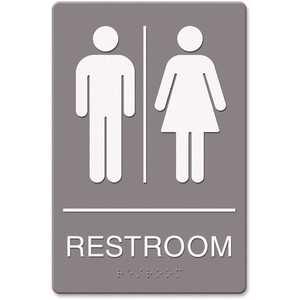 Headline USS4812 6 in. x 9 in. Molded Plastic Gray Restroom Symbol Tactile Graphic ADA Sign