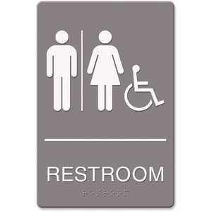 Headline USS4811 6 in. x 9 in. Restroom/Wheelchair Accessible Tactile Symbol Molded Plastic ADA Sign