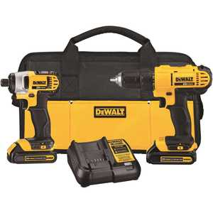 DEWALT DCK240C2 20-Volt MAX Lithium-Ion Cordless Drill/Driver and Impact Combo Kit (2-Tool) with (2) Batteries 1.3Ah, Charger and Bag Yellow
