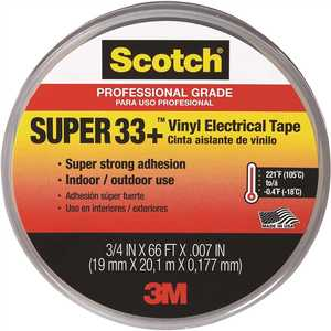 3M 6132-BA-10 Scotch Super 33+ 3/4 in. x 66 ft. Electrical Tape Black