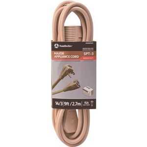 Southwire 3533SW3323 9 ft. 14/3 SPT-3 Flat Appliance Extension Cord Beige
