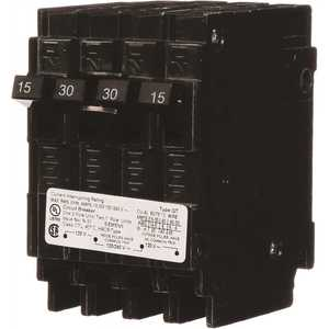 Siemens Q21530CT Triplex 2-Outer 15 Amp Single-Pole and 1-Inner 30 Amp Double-Pole Circuit Breaker