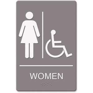 Headline USS4814 6 in. x 9 in. Molded Plastic Women Restroom Wheelchair Accessible Symbol ADA Sign