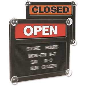 Headline USS3727 14-3/8 in. x 12-3/8 in. Double-Sided Open/Closed Sign with Plastic Push Characters