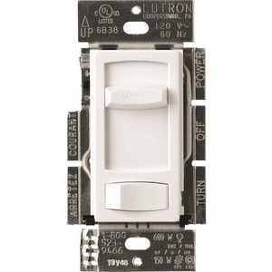Single-Pole or 3-Way Skylark Contour C.L Dimmer Switch for Dimmable LED, Halogen and Incandescent Bulbs, White
