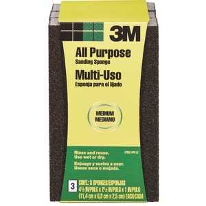 3M CP002-3PK-LG 2.5 in. x 1 in. x 4.5 in. 80-Grit Sanding Sponge (3 Sponge-Pack)