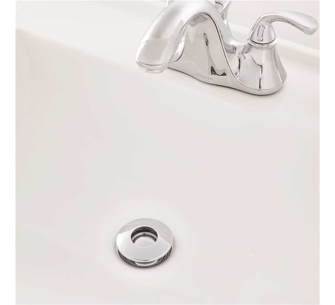 glacier bay 89461 2 3 4 in brass decorative pushbutton drain in chrome with no overflow