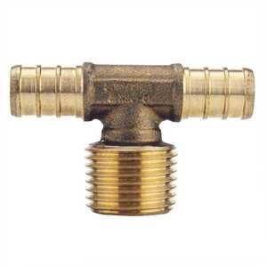 Apollo APXMT12 1/2 in. Brass PEX Barb x 1/2 in. Male Pipe Thread Adapter Tee